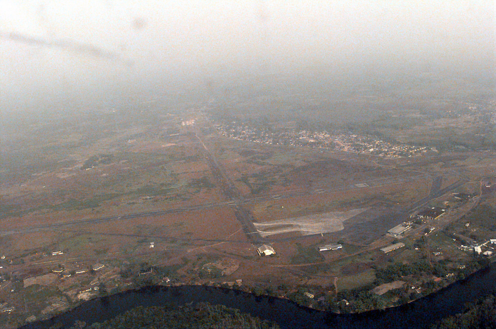 Shown is an overhead view of Roberts International Airport in Liberia. The airport is being used by United States Air Force C-130E Hercules aircraft from the 86th Air Wing out of Ramstein Air Base Germany for Operation ASSURED LIFT. ASSURED LIFT is a Joint Task Force (JTF) Operation to provide airlift and other logistical support to West African states that are deploying more than 600 troops to Liberia as part of the region's ongoing peacekeeping mission. Most of the inbound West African forces will comefrom the country of Mali, with the Ivory Coast and Ghana also expected to contribute troops