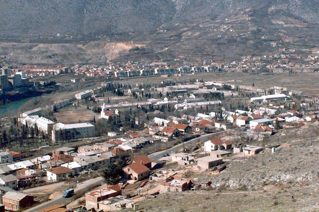 An aerial shot of the Bosnian Muslim compound in Mostar, Bosnia-Herzegovina