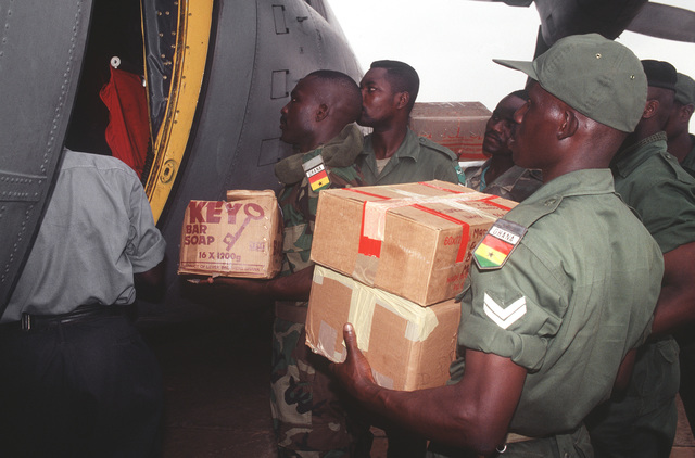 Economic Community Military Observation Group 13 (ECOMOG) Ghana Army troops load supplies on a U.S. Air Force, 86th Air Wing, Ramstein AB, Germany C-130E Hercules at Accra Airport, Ghana. The troops are being airlifted to Robert's International Airport, Liberia for a six month deployment on U.S. military aircraft participating in Operation Assured Lift, a 17- day United States airlift and support mission assisting the West African states deploying more than 1100 troops to Liberia as part of the region's ongoing peacekeeping force