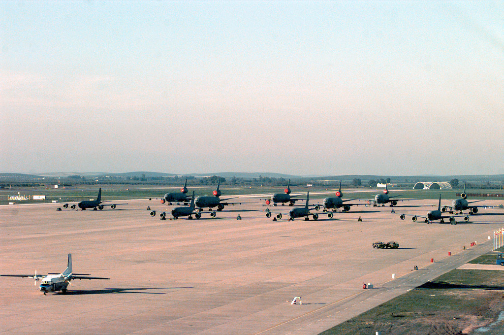 Shown is the parking ramp at Moron Air Base, Spain, being utilized by KC-10 Extenders and KC-135 Stratotankers in support of the AIR EXPEDITIONARY FORCE (AEF) 97-1. Under the AEF concept almost all of the Air Force will be divided into 10 force packages, each with a cross-section of Air Force weapon systems drawn from geographically separated units. These AEF packages will be able to respond within 72 hours of notification of any unexpected contingency