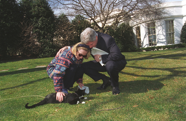 Photograph of President William Jefferson Clinton and First Lady Hillary Rodham Clinton Playing with Socks the Cat