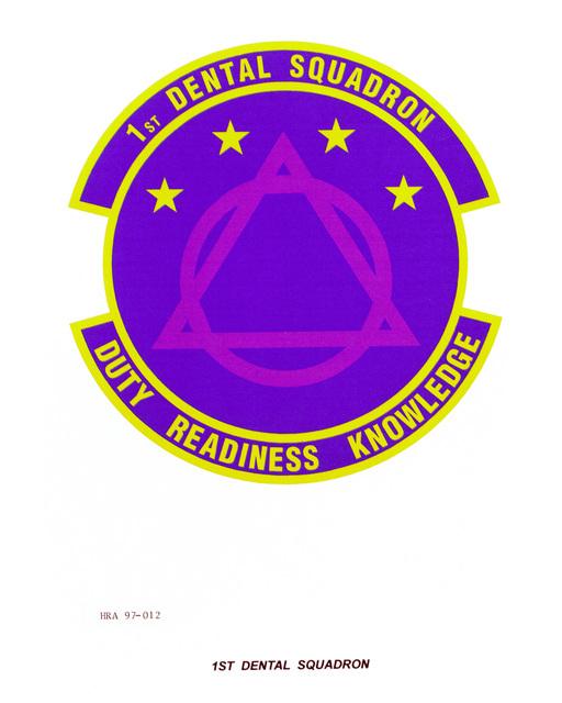 Air Force Organizational Emblem: 1ST Dental Squadron, Air Combat Command (ACC ) Exact Date Shot Unknown