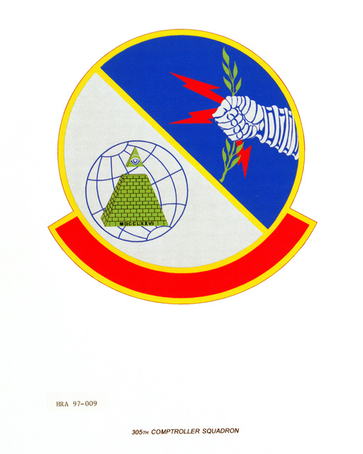 Air Force Organizational Emblem: 305th Comptroller Squadron, Air Mobility Command (AMC ) Exact Date Shot Unknown