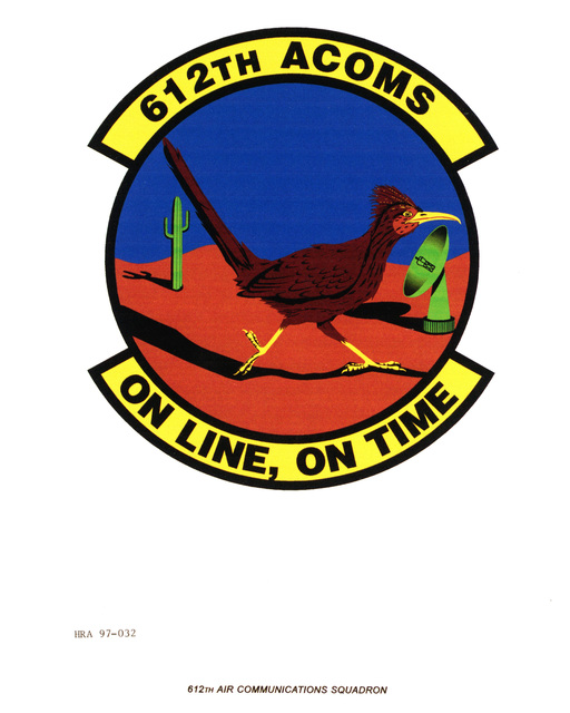 Air Force Organizational Emblem: 612th Air Communications Squadron, Air Combat Command (ACC ) Exact Date Shot Unknown