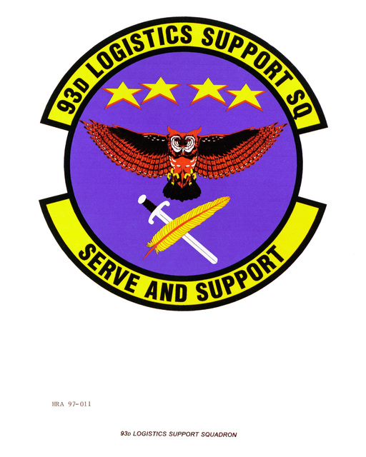 Air Force Organizational Emblem: 93rd Logistics Support Squadron, Air Combat Command (ACC ) Exact Date Shot Unknown