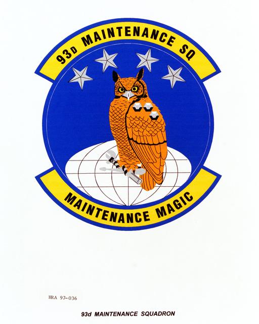 Air Force Organizational Emblem: 93rd Maintenance Squadron, Air Combat Command (ACC ) Exact Date Shot Unknown
