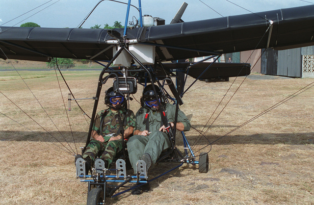 GEN Duran of the Ecuador Army prepares for a flight on an ultra-light aircraft during his visit to U.S. Army South (USARSO)