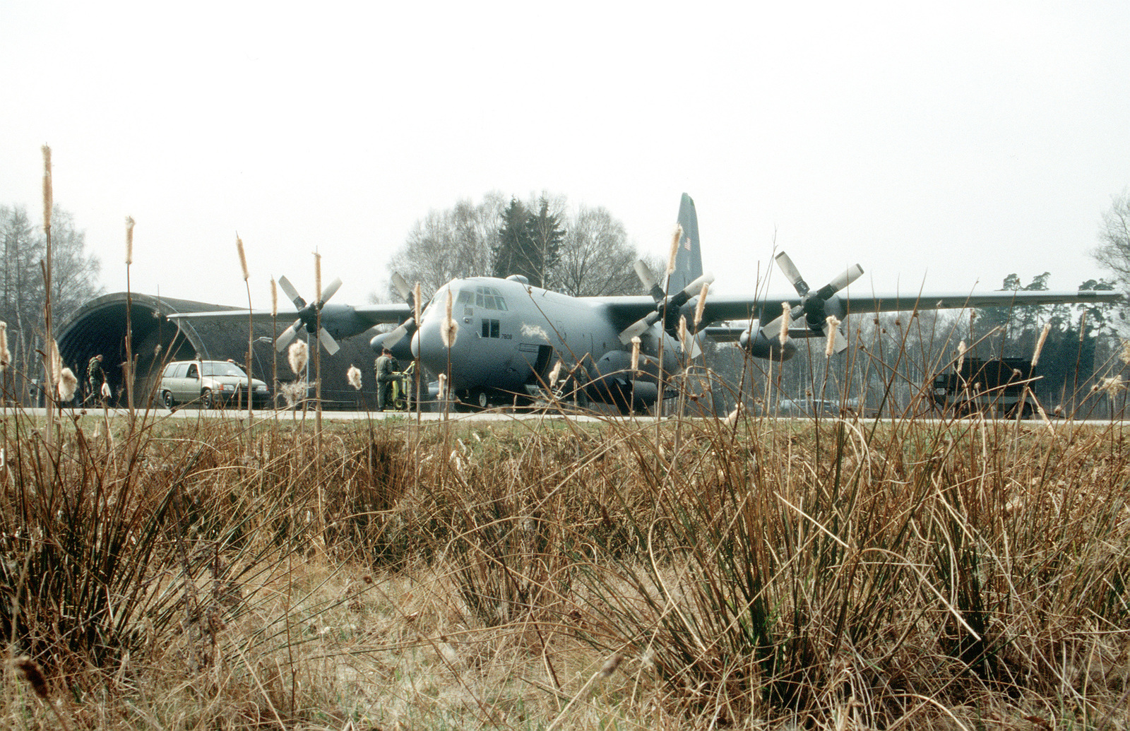 The 61st Airlift Squadron, Little Rock Air Force Base, Ark. is providing inter-theater transport capability to the former Yugoslavia region in support of the operation. The crew prepares the C-130 Hercules aircraft for takeoff from their temporary home of Ramstein Air Base, Germany