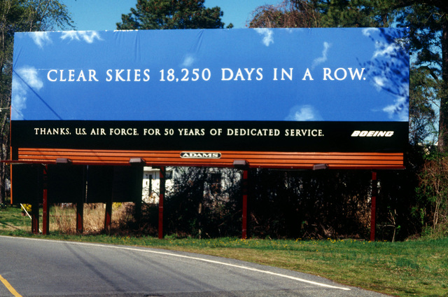 The Boeing Corporation purchased a billboard outside of the King Street Gate at Langley Air Force Base, Virginia, to express their appreciation for 50 years of dedicated service. (Duplicate image, see also DFST9806181 or search 970327F5718M001)