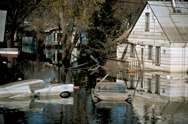 [Severe Storms/Flooding] Grand Forks, ND, April 1, 1997 - A flooded neighborhood with cars still floating due the flood waters from the Red River of the North.  FEMA/Michael Rieger