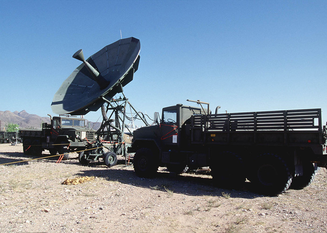 A fully operational Ground Mobile Forces Satellite Terminal (GMF), after being assembled by members of the 225th Combat Communications Squadron, Martin Air National Guard Station, Gadson, Alabama, is ready for use. The GMF will provide communication links for Forces Command (FORSCOM) during the world's largest joint service, multi-national tactical air operations exercise.