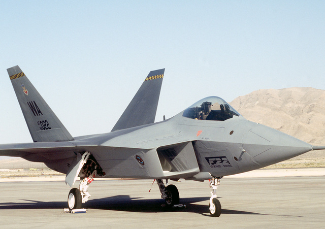 "A static display model of the YF-22, ""Raptor"", Advanced Tactical Fighter (ATF), sits on the flightline at Nellis Air Force Base in preparation of the 50th Anniversary of the US Air Force. The future fighter of the Air Force will be on display at the air show"