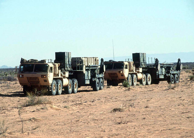 Members of Alpha 5-52 Air Defense Artillery Brigade, Fort Bliss, Texas drive their Patriot Missile System to its firing position at McGregor Range in southern New Mexico. The Patriot missile system will be used by the Blue Forces to defend against the Red Forces' air attacks during this, the world's largest joint service, multi-national tactical air operations exercise