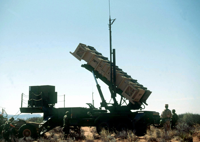 The M860A1 Patriot semitrailer launcher platform and missile cannister manned by soldiers of Alpha 5-52, Air Defense Artillery Brigade, Fort Bliss, Texas is set up and ready for a simulated launch. The Patriot missile system will be used by the Blue Forces to defend against the Red Forces' air attacks during this, the world's largest joint service, multi-national tactical air operations exercise