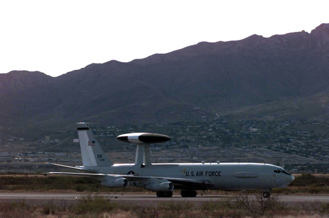 An E-3 Sentry Airborne Warning And Control System (AWACS) taxis down Biggs Airfield, El Paso, Texas. The aircraft will be used extensively during ROVING SANDS '97. ROVING SANDS is a multinational effort and is the largest military exercise on United States soil that allows training in a joint environment to hone command and control procedures and integrate new systems in Theater and Air Missile Defense