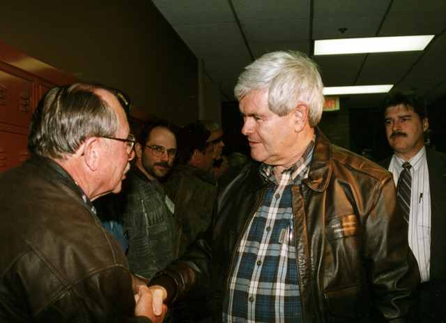[Severe Storms/Flooding] East Grand Forks, MN, 04/25/1997-- Rep. Newt Gingrich speaks with a Minnesota resident about the flood relief efforts.  FEMA/David Saville