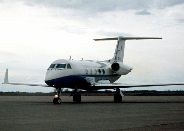 Speaker of the House, Newt Gingrich arrives in a Gulfstream C-20B at Grand Forks Air Force Base, North Dakota, to view the damage in Grand Forks, North Dakota and East Grand Forks, Minnesota. Severe flooding ruined them both. All residents were forced to leave their homes and businesses to seek shelter on the Base as well as surrounding communities
