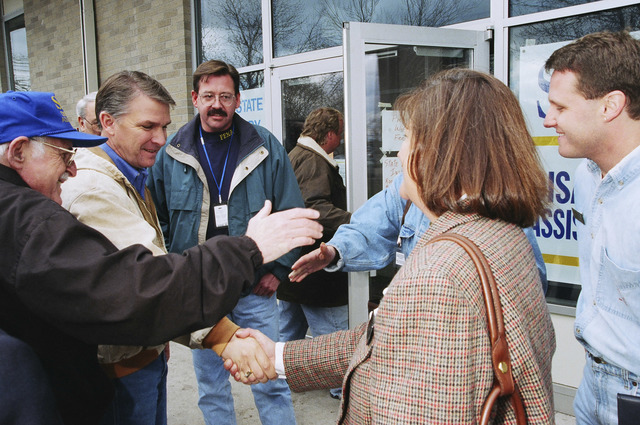 [Severe Storms/Flooding] Grand Forks, ND, April, 1997 -- FEMA Director, James Lee Witt, meets and talks with residents at a FEMA Recovery Center in Grand Forks.  FEMA/Michael Rieger