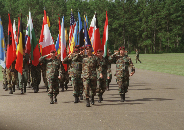 The Task Force Command render their honors in a ceremony that ended the exercise at the Joint Readiness Training Center