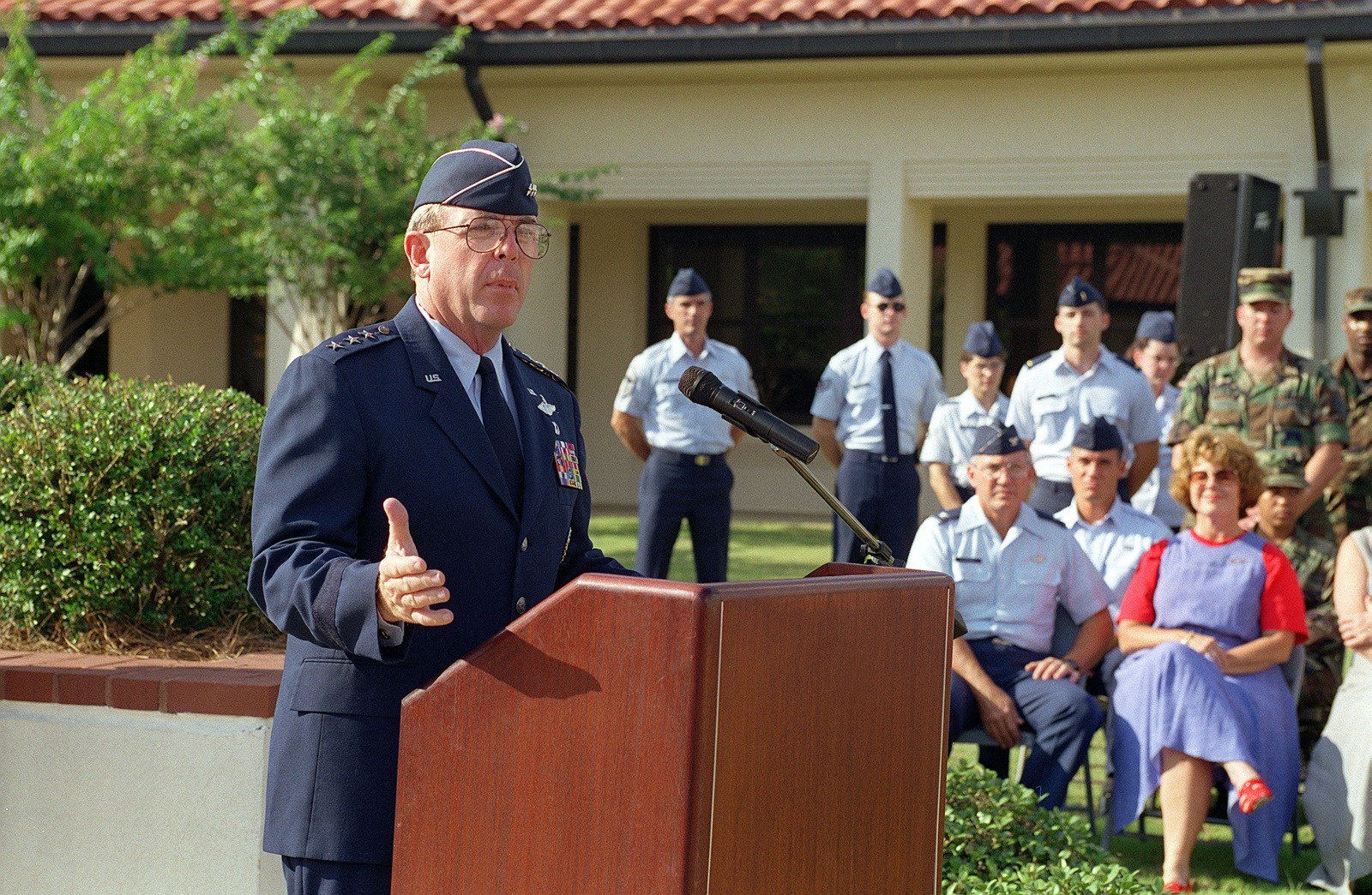 LGEN Joseph Redden, Air University commander, speaks at a retreat ceremony celebrating the 50th anniversary of the Air Force