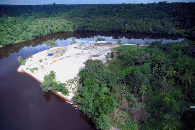 Aerial view of Malali, located on the Upper Demerara River, one of the six Combined Task Force Falcon project construction sites for the 820th Red Horse Squadron. Red Horse personnel will construct a school during this first combined humanitarian and civic assistance exercise conducted between the United States and Guyana. Military personnel from the Air Force, Air Force Reserve & National Guard, Army, Army National Guard and Marine Corps participated in the exercise which included engineering and medical readiness training