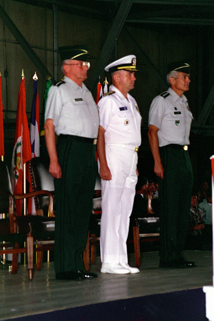 General John M. Shalikashvili (left), Rear Admiral Walter F. Doran (center), and General Wesley K. Clark (right), participate at the US Southern Command (USSOUTHCOM) Change of Command Ceremony