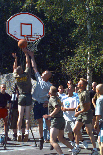 "Various soldiers hit the court for a friendly game of basketball during sports day while conducting BALTIC CHALLENGE '97. BALTIC CHALLENGE is a multinational exercise conducted in the spirit of NATO's Partnership for Peace (PfP) initiative. More than 2600 military personnel from Denmark, Estonia, Finland, Latvia, Lithuania, Norway, Sweden, and the US, will participate in the second ""in the spirit of PfP"" land exercises conducted in the Baltic region. Co-Commanders for the exercise being held in Paldiski, Estonia are Colonel Oscar Mark, Estonian Defense Forces and Colonel D. L. Andrews, US Marine Corps Reserve. BALTIC CHALLENGE will conduct training along peacekeeping/humanitarian..."