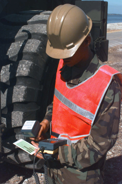 Private First Class B. W. Robinson scans a LOGMARS (Logistics Application for the Marking and Reading of Symbols) label from a piece equipment brought off of the Steam Ship (SS) SGT Matej Kocak (T-AK 3005). The scanning of these labels, and the data contained within, can be transmitted up through the levels of command, allowing anyone to get a quick snapshot of what equipment is ashore during a Maritime Prepositioning Ship (MPS) offload. This offload took place during BALTIC CHALLENGE '97. BALTIC CHALLENGE is a multinational exercise conducted in the spirit of NATO's Partnership for Peace (PfP) initiative. More than 2600 military personnel from Denmark, Estonia, Finland, Latvia,...