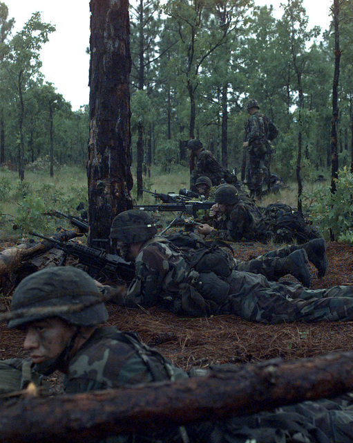 US Army Soldiers from the 2nd Battalion, 505th Parachute Infantry, 3rd Brigade, 82nd Airborne Division, Fort Bragg, North Carolina, wait for the beginning of a night live fire exercise at Range 74 during a Joint Readiness Training Exercise at Fort Bragg, NC, 15 July 1997