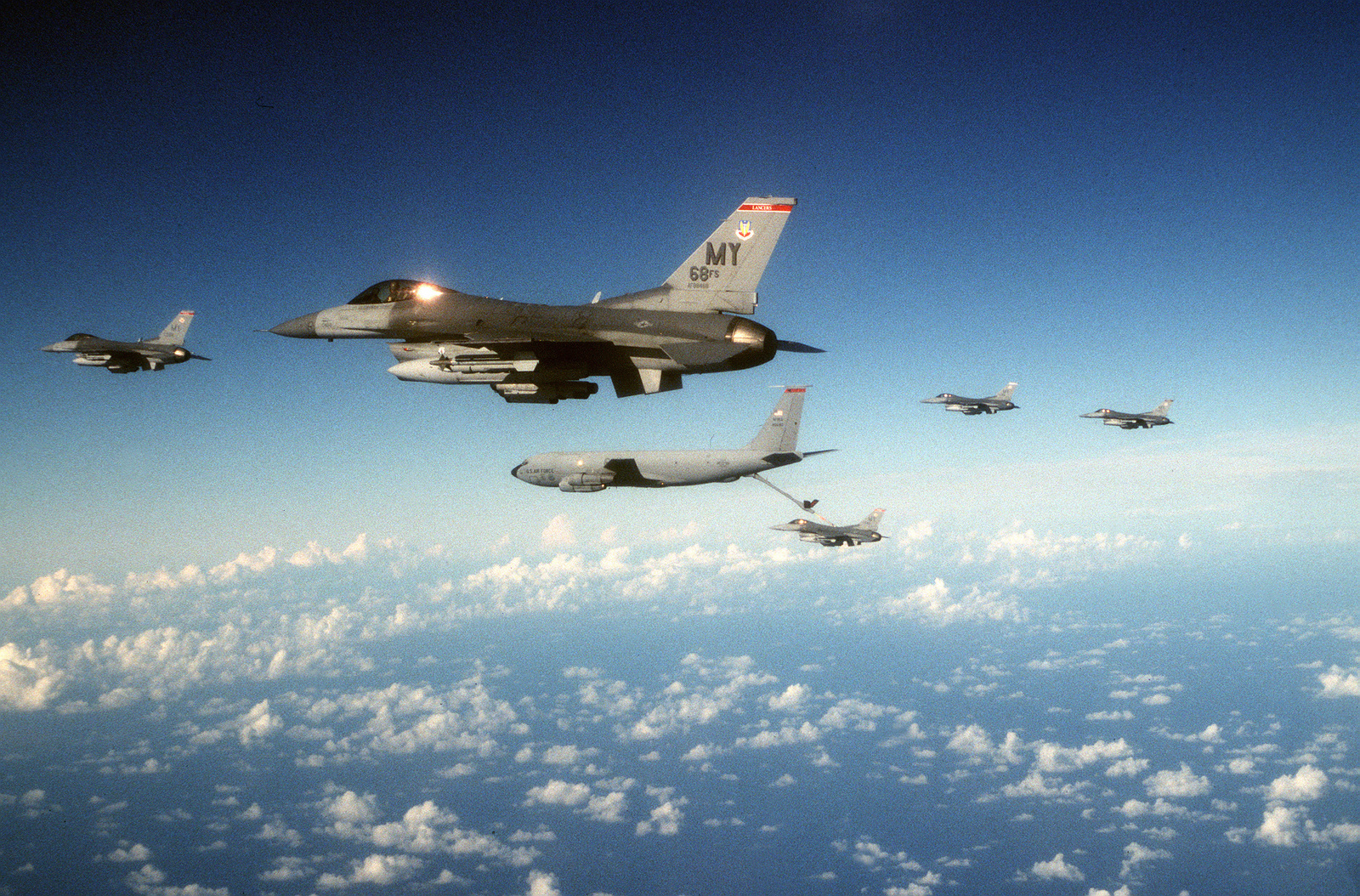 Five F-16s from the 347th Composite Wing, 69th Fighter