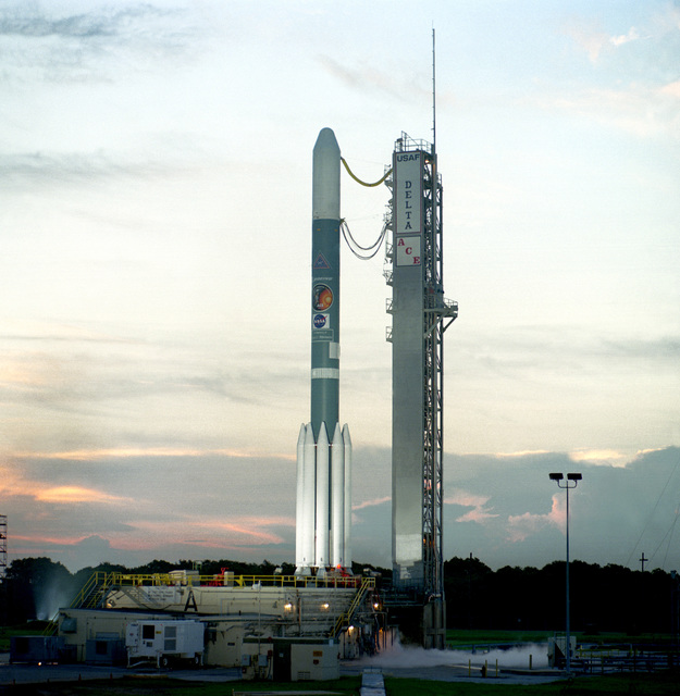 The Boeing Delta II space launch vehicle sits at complex 17A, waiting to carry NASA's Advanced Composition Explorer (ACE) into orbit