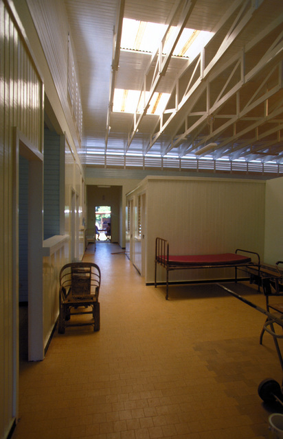 Interior of the newly renovated Kumaka Regional Hospital. The renovation was completed on 28 Aug. 1997, by members of the 820th Red Horse Squadron, Nellis Air Force Base, Nevada as well as the Guyanese Defense Force engineers, as part of this first combined humanitarian and civic assistance exercise conducted between the United States and Guyana. Military personnel from Air Force, Air Force Reserve & National Guard, Army, Army National Guard and Marine Corps participated in the exercise which included engineering and medical readiness training