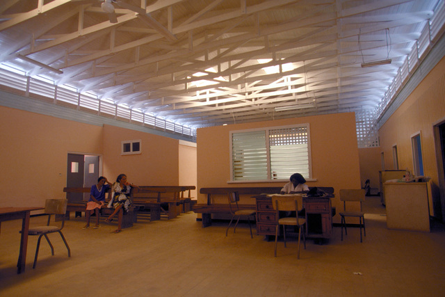 Interior of the newly renovated Kumaka Regional Hospital. The renovation was completed on 28 Aug. 1997, by members of the 820th Red Horse Squadron, Nellis Air Force Base, Nevada, as well as the Guyanese Defense Force engineers, as part of this first combined humanitarian and civic assistance exercise conducted between the United States and Guyana. Military personnel from Air Force, Air Force Reserve & National Guard, Army, Army National Guard and Marine Corps participated in the exercise which included engineering and medical readiness training