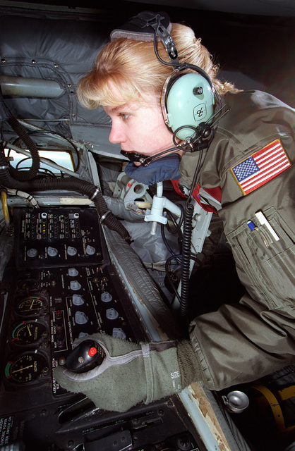 SRA Elizabeth Puetz concentrates as she operates a refueling boom inside a KC-135R aircraft. SRA Puetz is refueling a German GR1 Tornado Fighter aircraft. The tanker and crew is assigned to the 912th ARS from Grand Forks AFB, North Dakota, on temporary assignment to the European Tanker Task Force at RAF Mildenhall, England