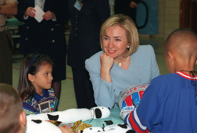 First Lady Hillary Rodham Clinton visits with children at the Child Development Center