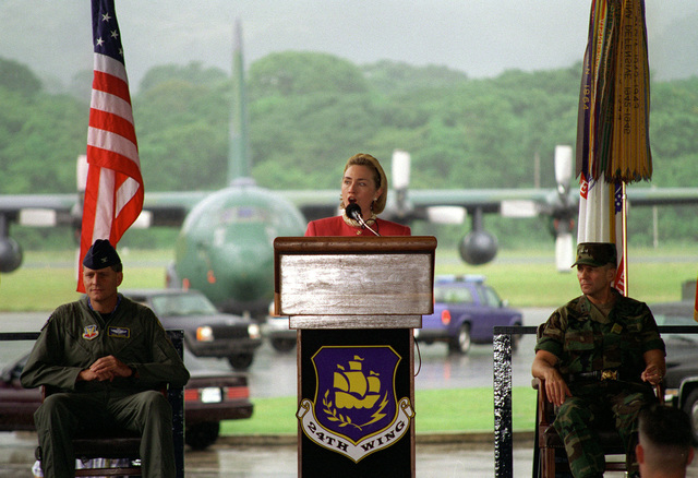 """Mrs. Hillary Rodham-Clinton visits Panama to participate in the seventh annual meeting of the """"First Ladies Conference of the America's"""". Seated on Mrs. Clinton's right is MAJ. GEN. Philip R. Kensinger, Jr., Commander, US Army South and on her left is COL. Gregory Trebon, 24th Wing Commander"""