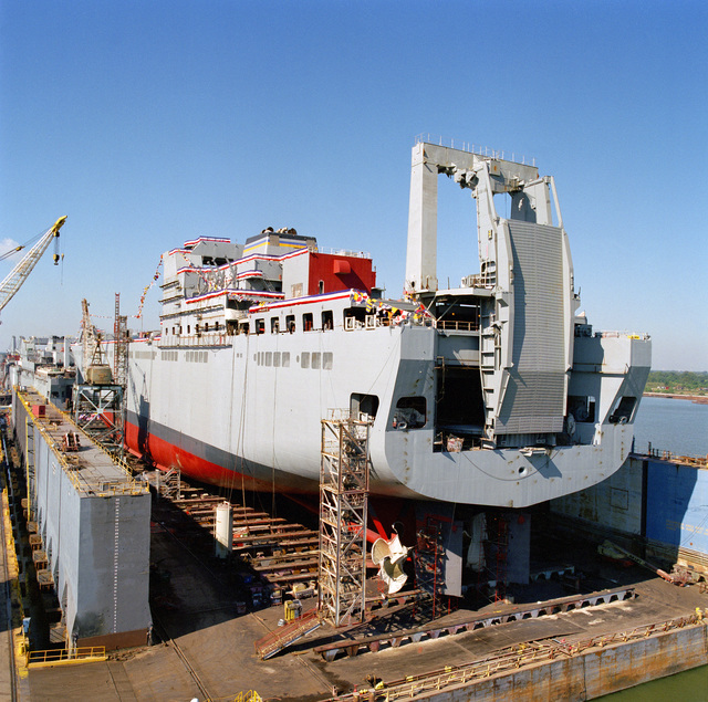 Starboard quarter view of the Military Sealift Command (MSSC) strategic heavy lift ship USNS FISHER (T-AKR 301) on the launching platform shortly before christening at the Avondale Industries, Inc. shipyard