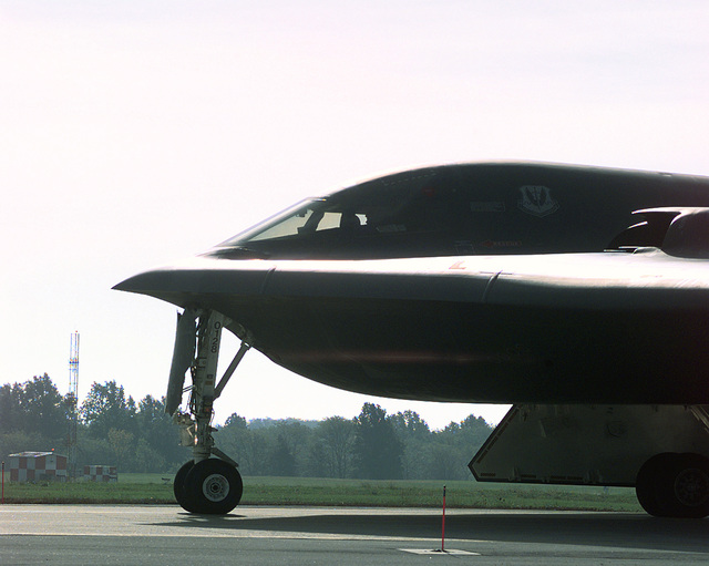 A view of the front half of a B-2 Spirit stealth bomber of the 393rd Bomb Squadron, 509th Bomb Wing, as it taxis out for take-off during an exercise sortie. Global Guardian is designed to exercise the ability of USSTRATCOM and its component forces to effectively deter a military attack against the United States and employ forces as directed by the National Command Authority