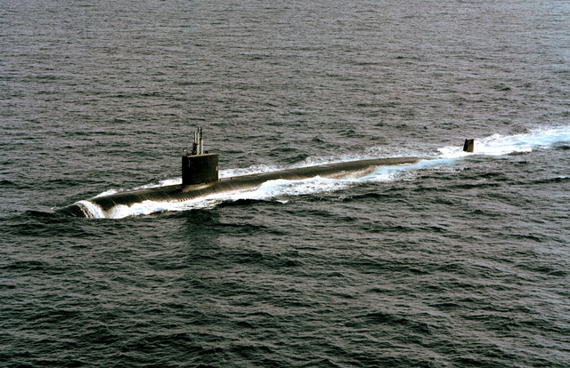 The Los Angeles class fast attack nuclear powered submarine USS ANNAPOLIS (SSN 760) underway in the Eastern Mediterranean Sea. ANNAPOLIS is part of the aircraft carrier USS GEORGE WASHINGTON Battle Group, and has received orders from the President of the United States to proceed with the USS GEORGE WASHINGTON (CVN 73) to the Persian Gulf region following the Iraqis repeated violations of UN resolutions imposed following the 1991 Gulf war