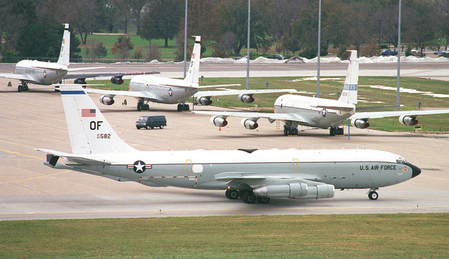 An EC-135 Looking Glass aircraft taxis past other variations of the C-135 aircraft as it prepares for departure during the joint military exercise GLOBAL GUARDIAN '98