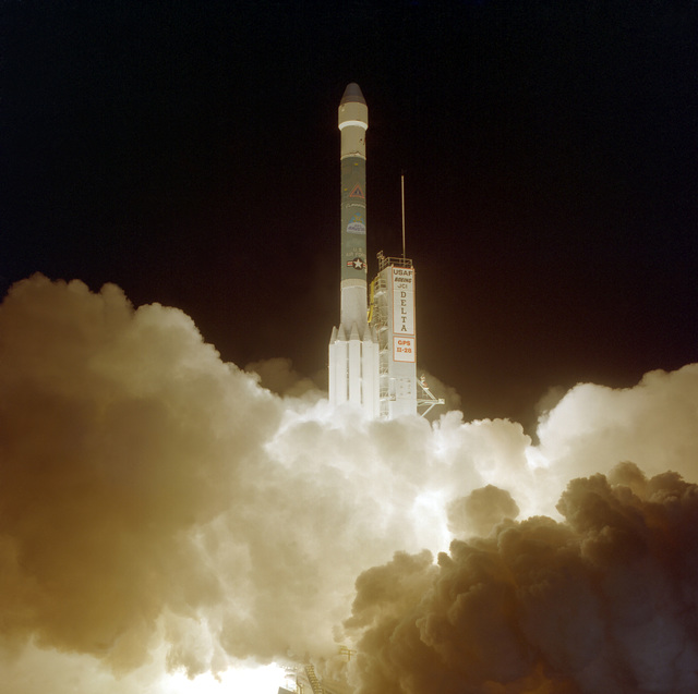 The Boeing Delta II space launch vehicle lifts off from complex 17A at 7:30 P.M. EST carrying a NAVSTAR (Navigation Satellite Timing and Ranging) GPS II-28 (Global Positioning System) satellite