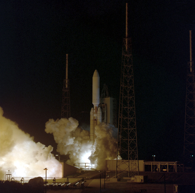 A Lockheed Martin Titan IV A-17 launch vehicle is successfully launched from complex 41 at Cape Canaveral, carrying aloft a Department of Defense payload