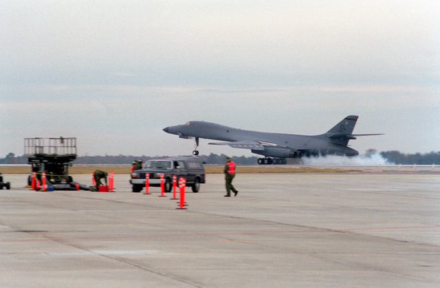 A B-1B Lancer from the 28th Bomb Wing, Ellsworth Air Force Base, South Dakota, touches down in Savannah, Georgia, at the Combat Readiness Training Center