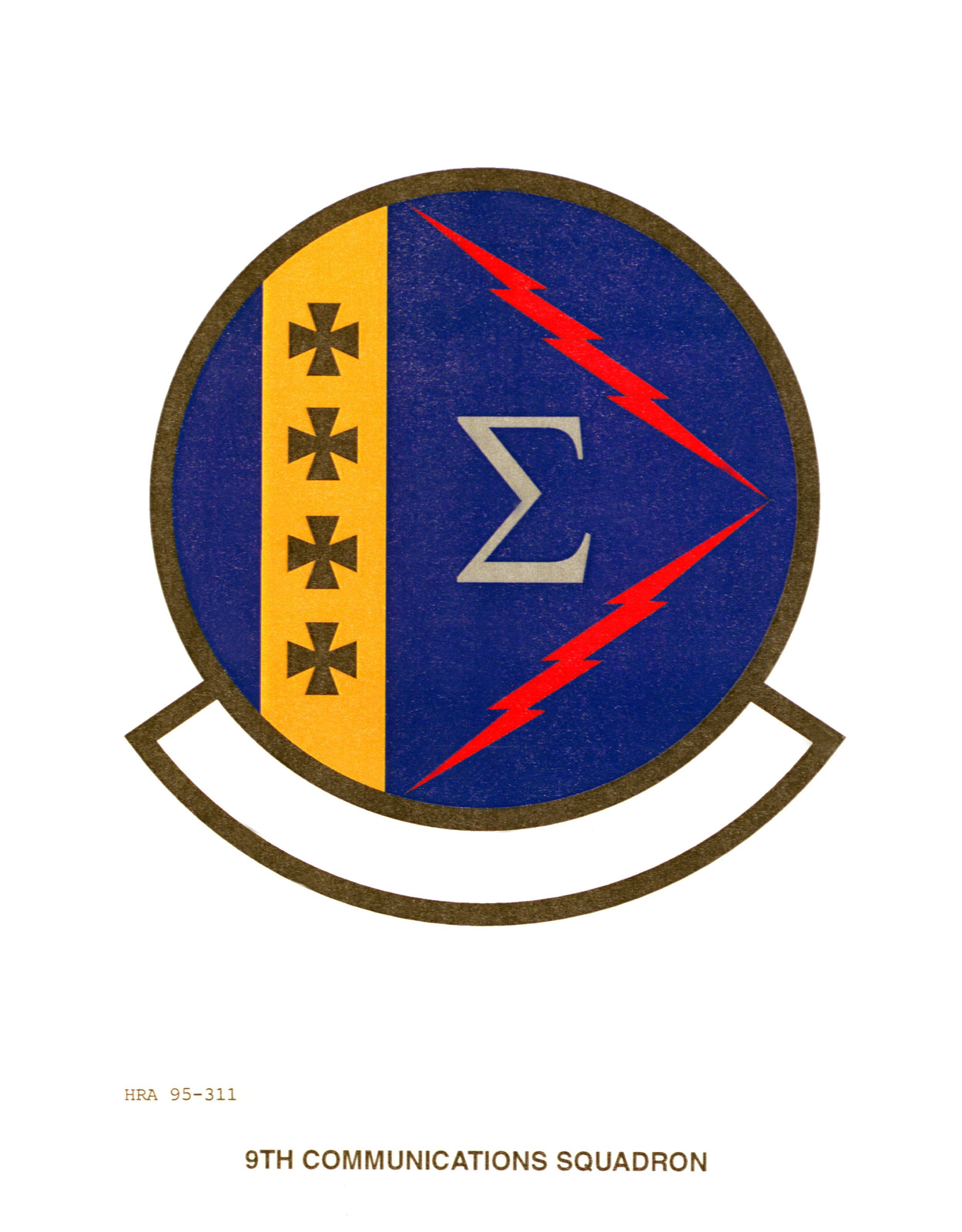 Approved insignia for the 9th Communications Squadron Exact date Shot Unknown