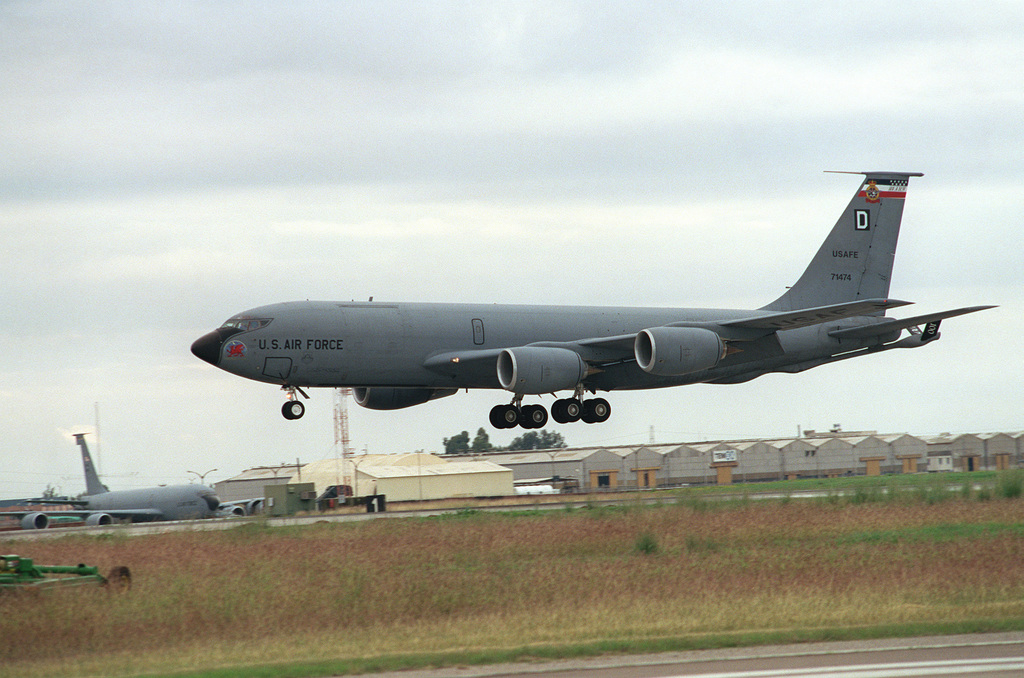A KC-135R Stratotanker from the 100th Aerial Refueling Wing based at Royal Air Force Mildenhall, United Kingdom, returns to Incirlik Air Base, Turkey, after a mission in support of Operation NORTHERN WATCH