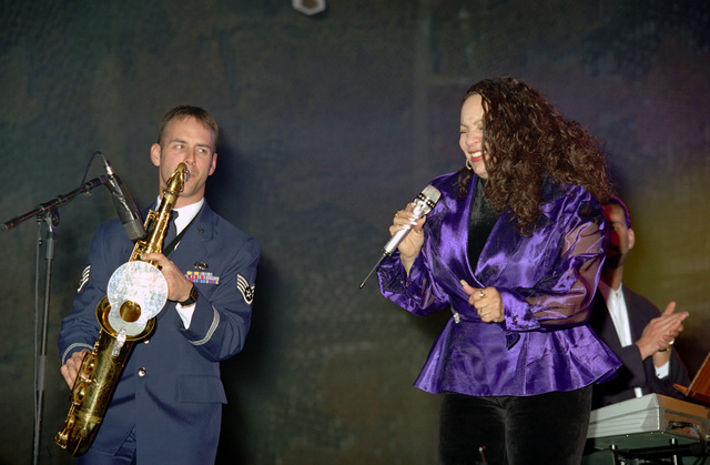 Special guest recording artists Juanita Williams performs along with the US Air Force in Europe (USAFE) Band, during an Operation SEASONS GREETINGS '97 concert held at Aviano Air Base, Italy