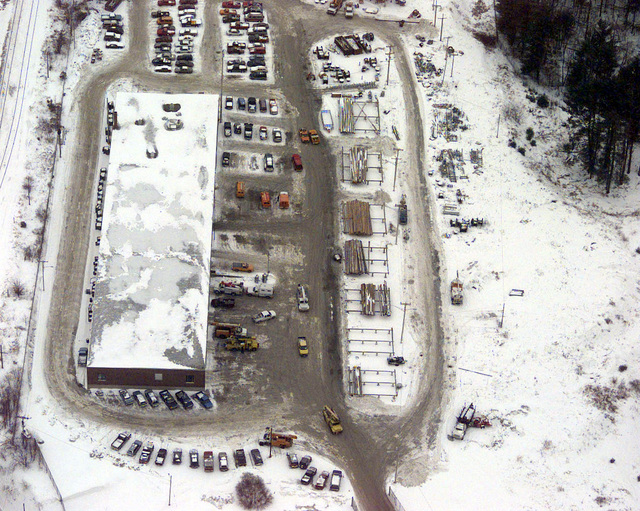 An aerial view of the Headquarters of Central Maine Power company. It is from here that work crews are assigned areas in which they need to restore power. Central Maine was crippled by an ice storm and crews from all over Maine and the eastern part of the country worked around the clock to get power back to customers