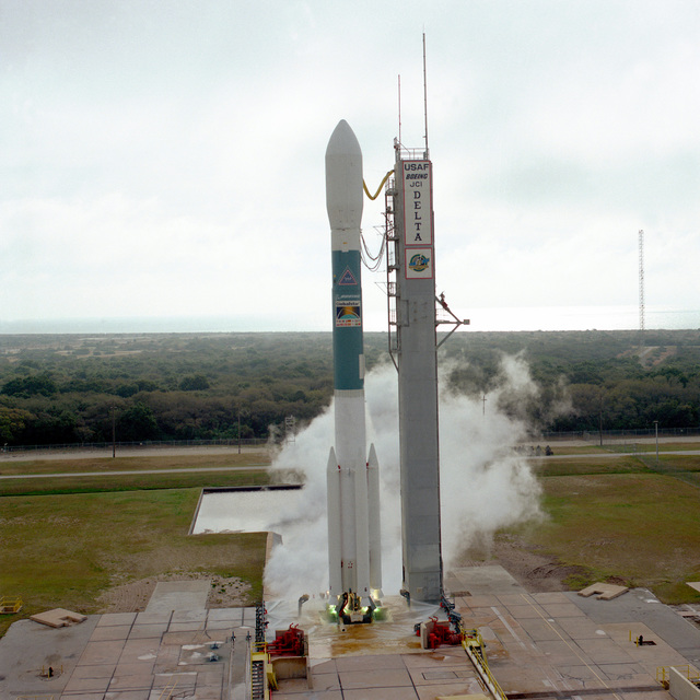 The Boeing Company's Delta II space launch vehicle lifts off from complex 17A at Cape Canaveral carrying the Global I satellite into orbit