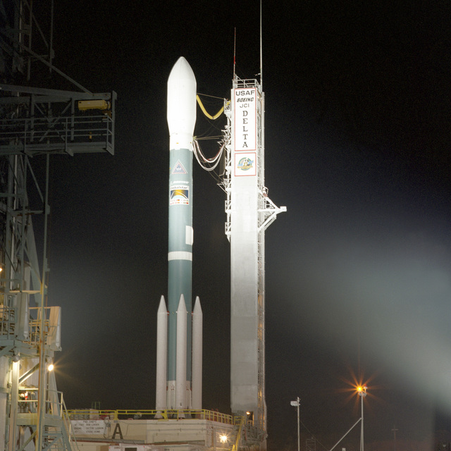 The Boeing Company's Delta II space launch vehicle sits on complex 17A at Cape Canaveral waiting to carry the Global I Satellite into orbit