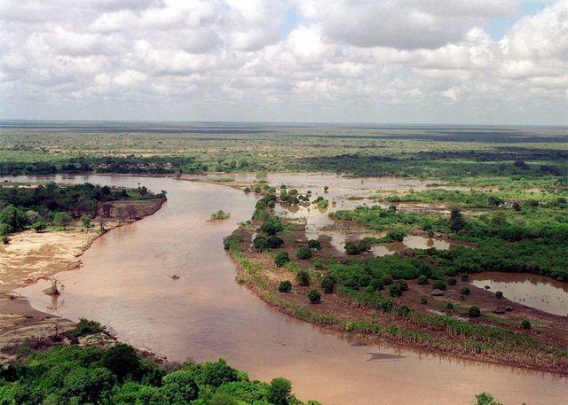 An aerial photograph of the flooded Tana river which is in the Rift Valley area, Joint Task Force Kenya, operation Noble Response. (Duplicate image, see also DMSD0204679 or search 980303M4605W004)